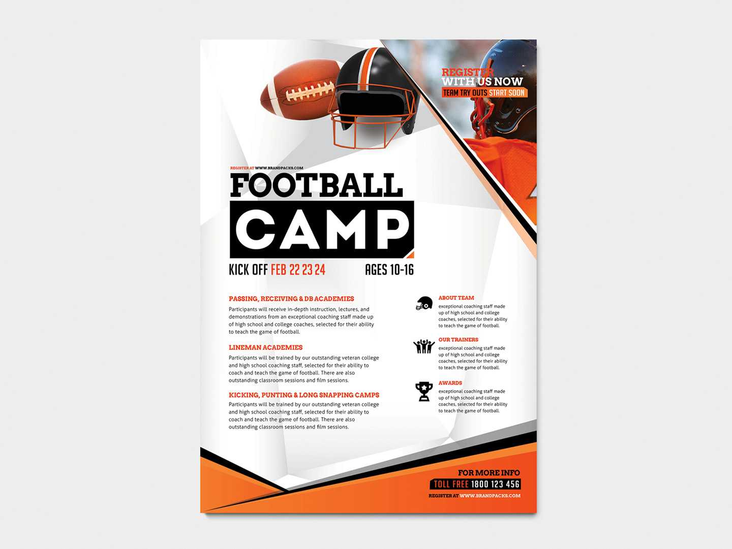 A4 American Football Poster / Advertisement Template In Psd With Regard To Football Camp Flyer Template Free