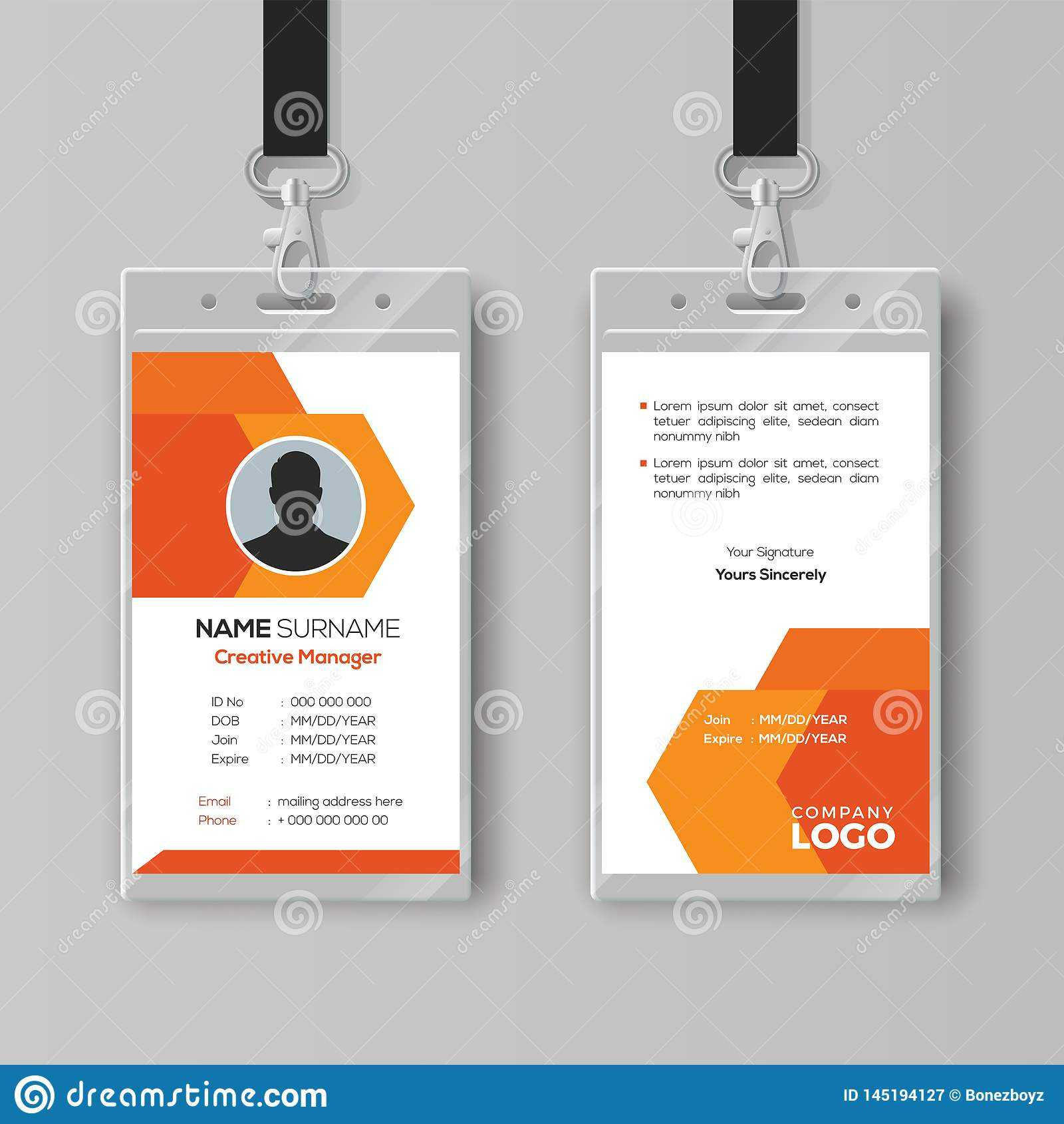 Abstract Orange Id Card Design Template Stock Vector In Company Id Card Design Template