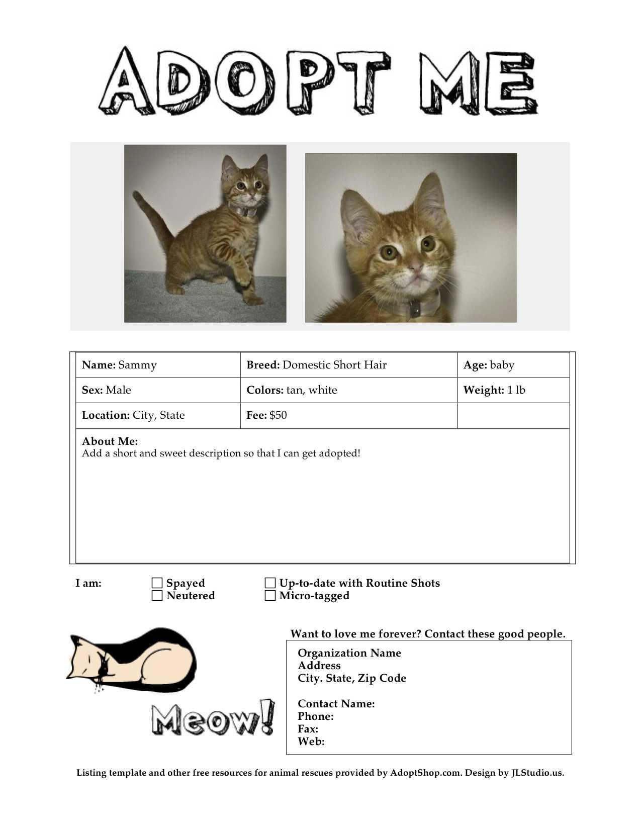 Adoption Listing Templates   Throughout Dog Adoption Flyer Template