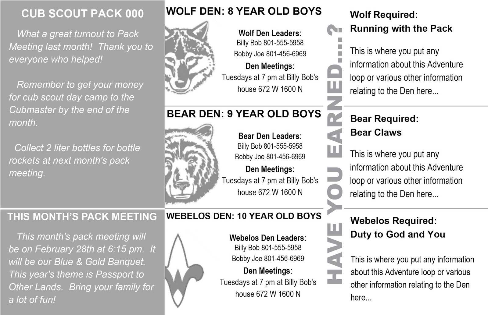 Akela's Council Cub Scout Leader Training: Cub Scout With Regard To Cub Scout Newsletter Template