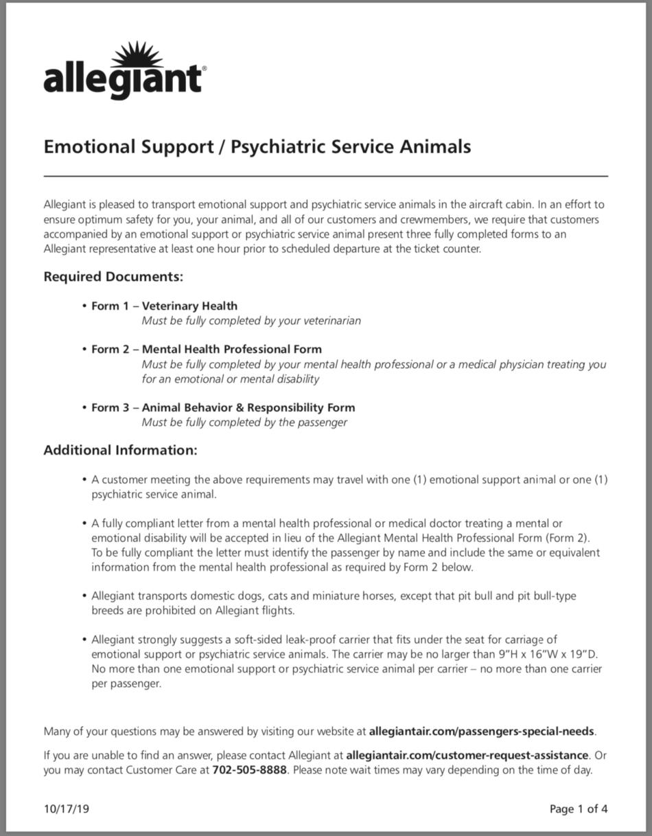 Allegiant Air Emotional Support Animal Form – 2019 – Esa Doctors Inside Emotional Support Animal Letter Template
