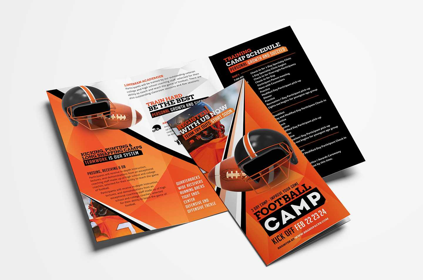 American Football Camp Tri Fold Brochure Template In Psd Inside Football Camp Flyer Template