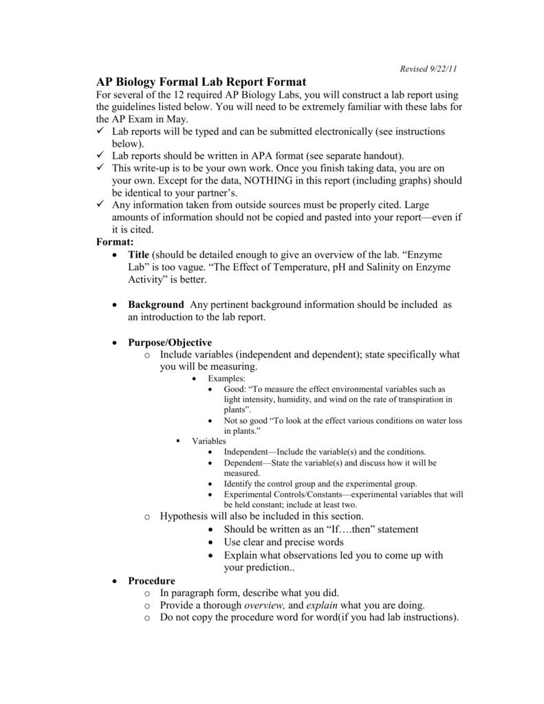 Ap Biology Formal Lab Report Format Regarding Formal Lab Report Template