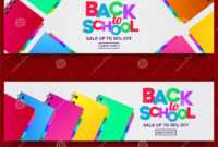 Back To School Colorful Text Banner Template With Stationary for Classroom Banner Template