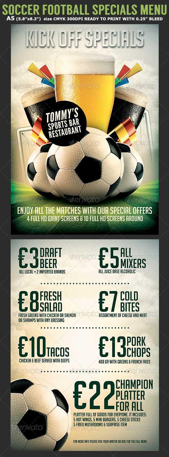 Bar Menu Template Graphics, Designs & Templates Regarding Football Menu Templates
