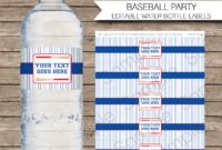 Baseball Party Water Bottle Labels Template inside Drink Bottle Label Template