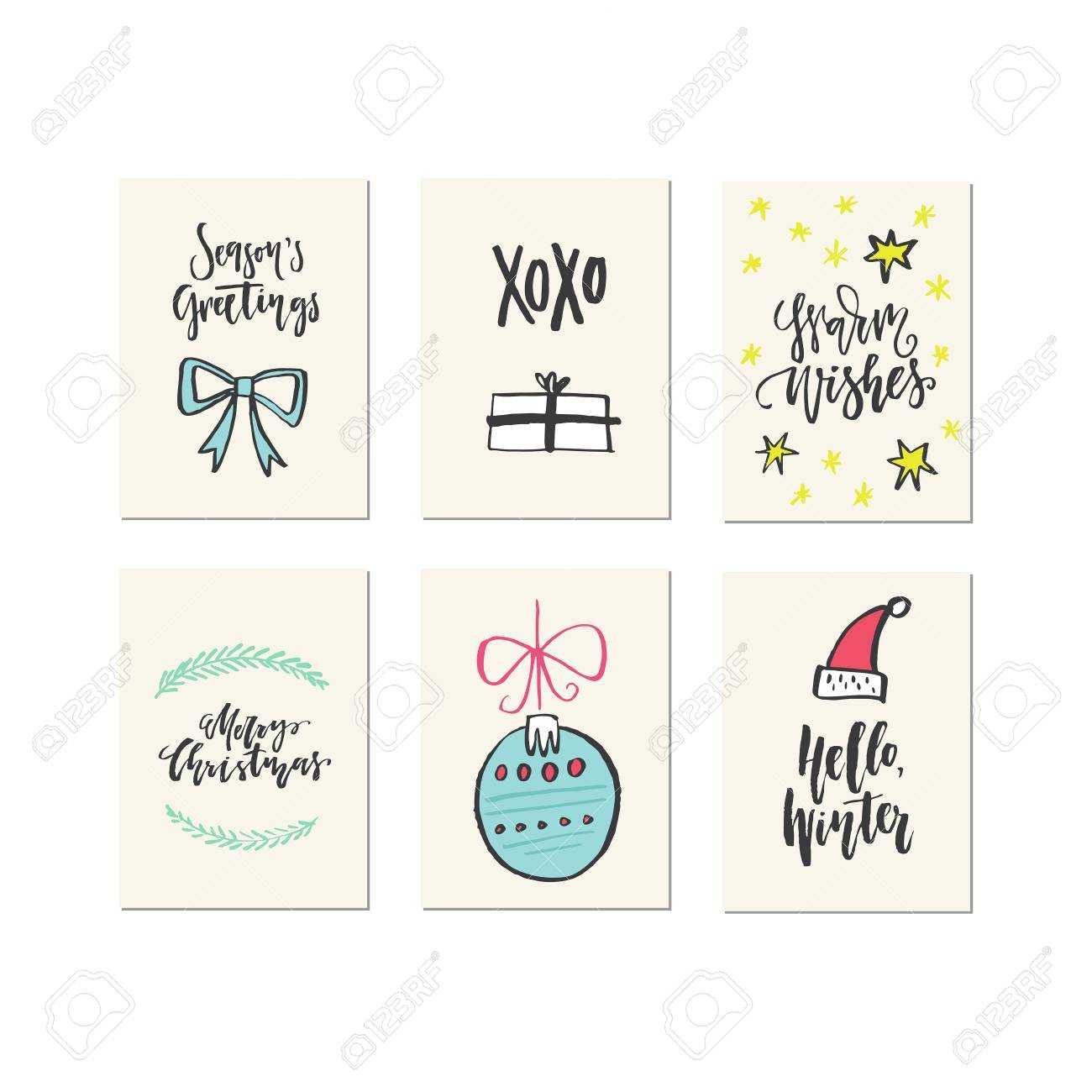 Big Collection Of Unique Christmas Or New Year Card Templates.. Intended For Christmas Note Card Templates