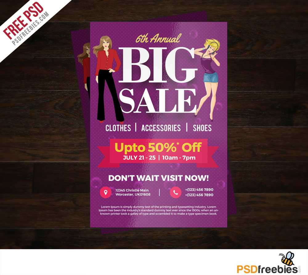 Big Sale Colorful Flyer Free Psd Template | Psdfreebies Inside Free Ad Flyer Templates