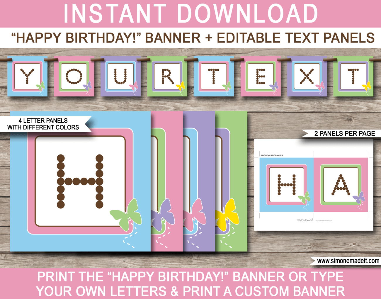 Birthday Banner Template Butterfly Party Photoshop Free Inside Diy Banner Template Free