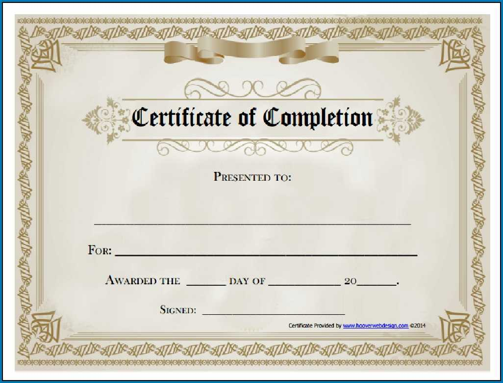 Blank Certificate Of Completion Template - Colona.rsd7 Regarding Free Printable Blank Award Certificate Templates