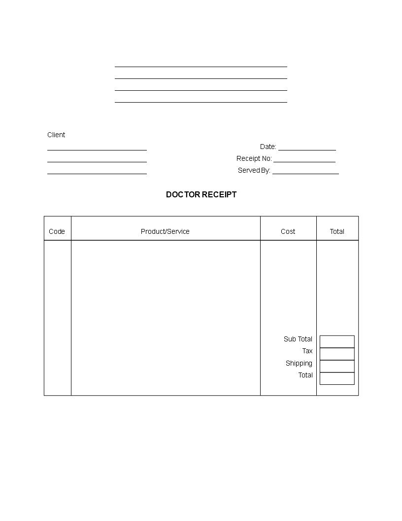 Blank Doctor Receipt   Templates At Allbusinesstemplates For Doctors Invoice Template