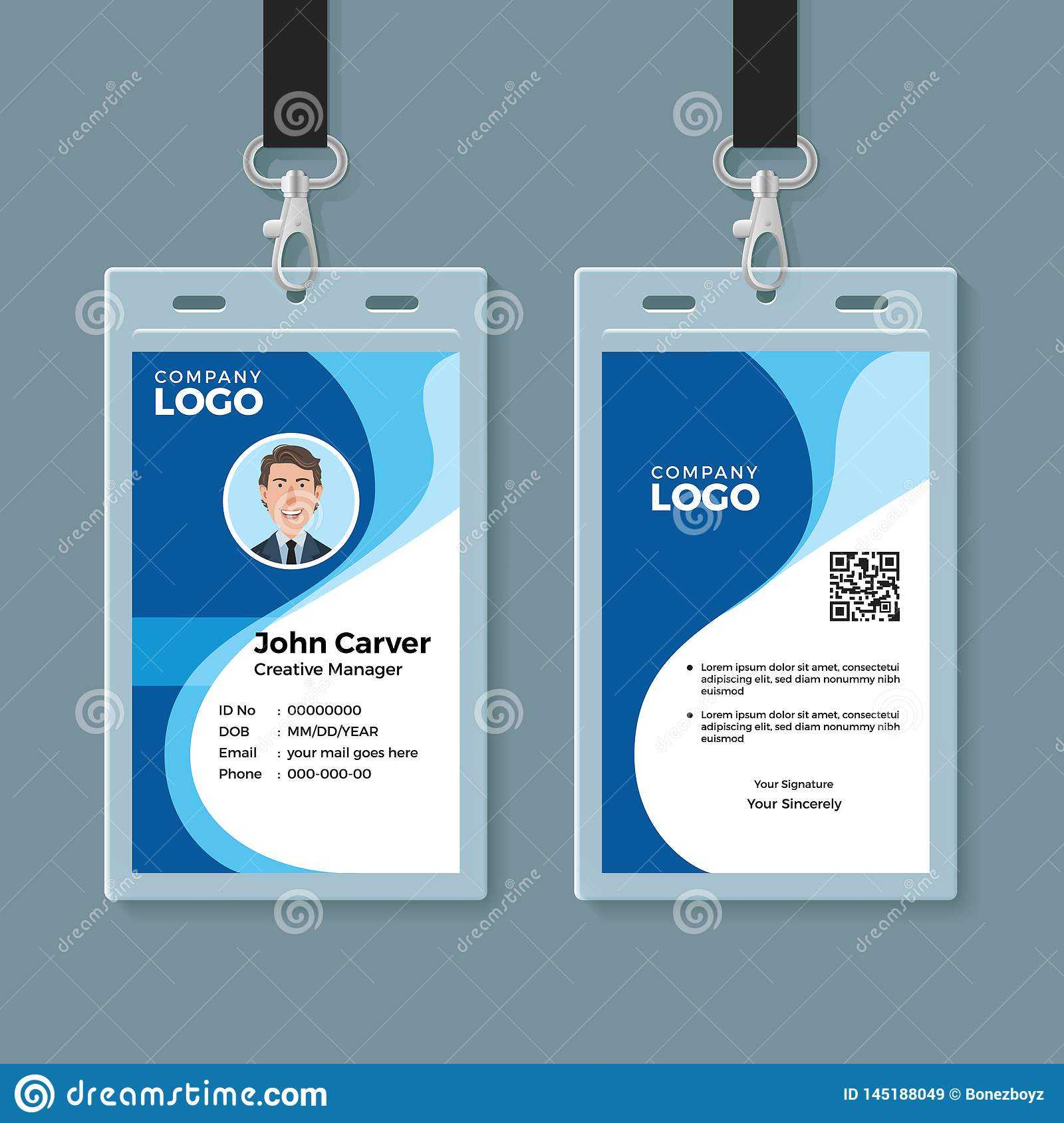 Blue Curve Wave Id Card Design Template Stock Vector Throughout Company Id Card Design Template