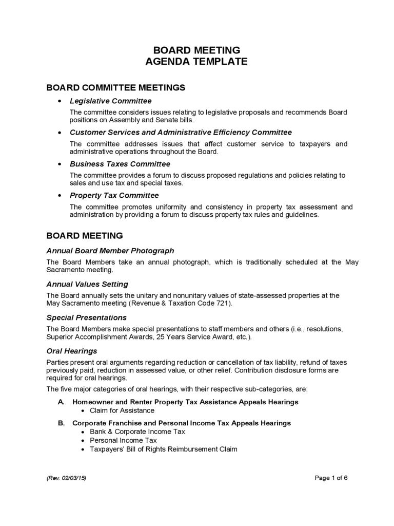 Board Meeting Agenda Template – 7 Free Templates In Pdf For Committee Meeting Agenda Template