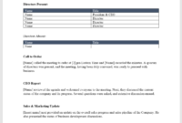 Board Meeting Minutes Template – Download From Cfi Marketplace in Corporate Meeting Minutes Template