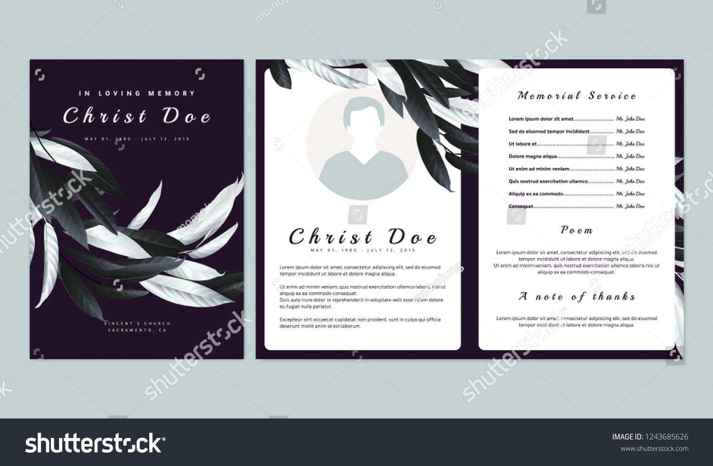 Botanical Memorial Funeral Invitation Card Template Stock With Regard To Funeral Invitation Card Template