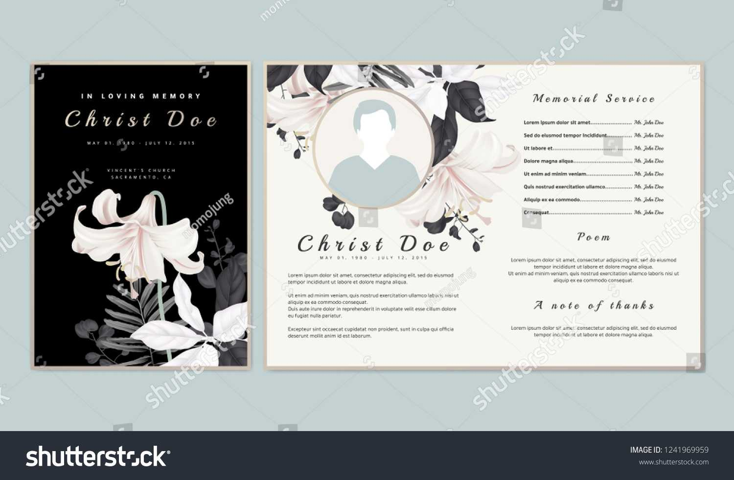 Botanical Memorial Funeral Invitation Card Template Stock With Regard To Funeral Invitation Card Template