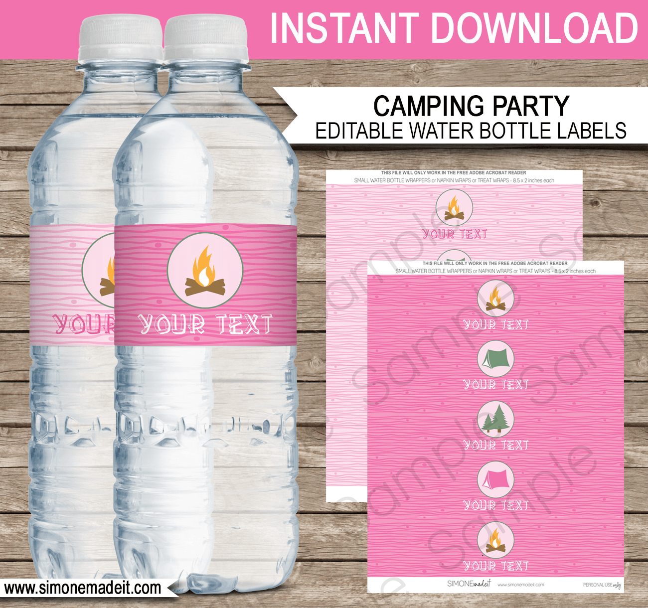 Camping Party Water Bottle Labels Template – Pink With Diy Water Bottle Label Template