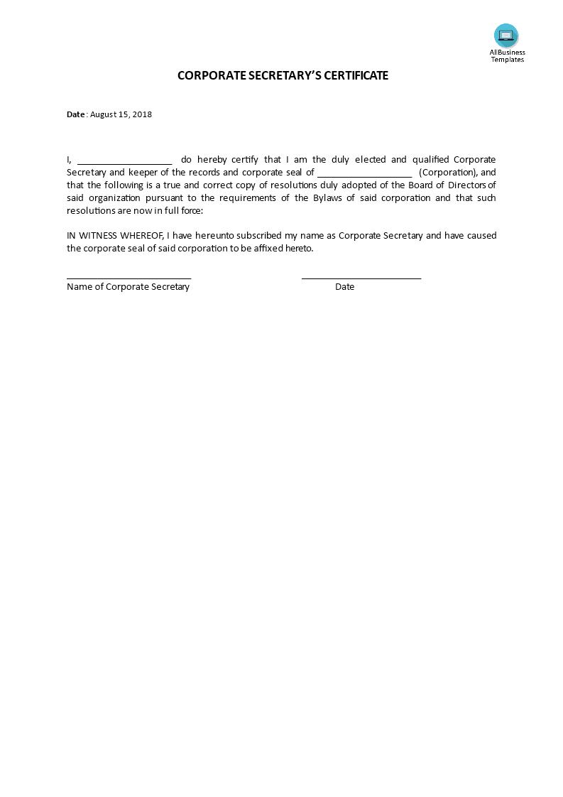 Certificate, Corporate Secretary's   Templates At With Regard To Corporate Secretary Certificate Template