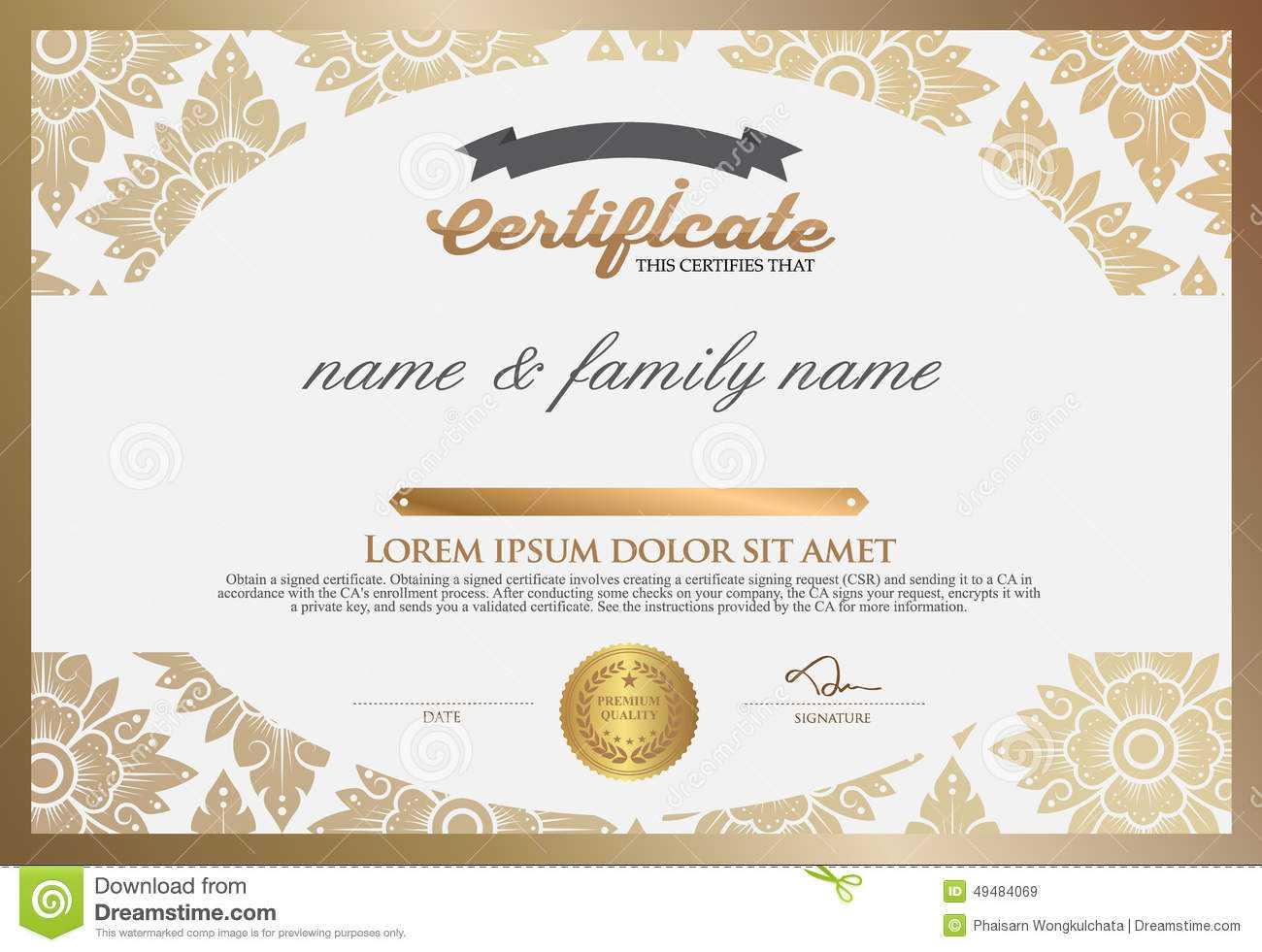 Certificate Design Template. Stock Vector – Illustration Of Within Design A Certificate Template