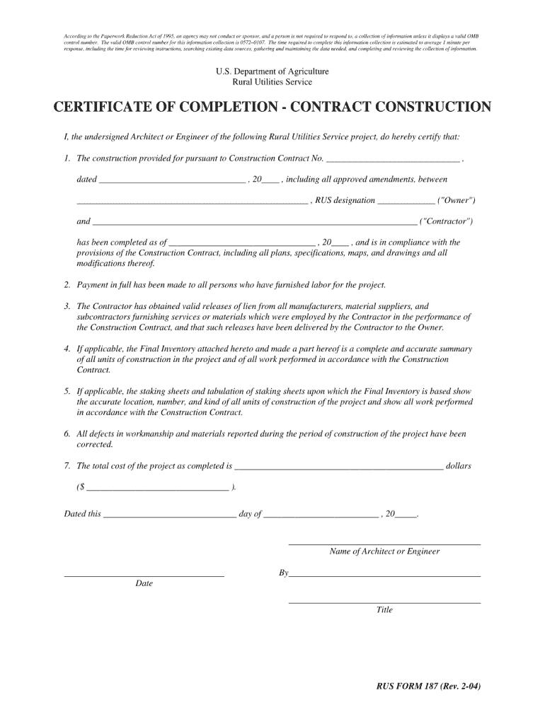 Certificate Of Completion Construction Pdf - Fill Online Regarding Construction Certificate Of Completion Template