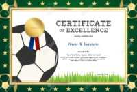 Certificate Of Excellence Template In Sport Theme For Football.. in Football Certificate Template