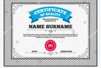 Certificate Quality First Place Cup Award Stock Vector in First Place Award Certificate Template