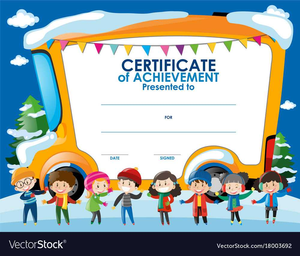 Certificate Template With Children In Winter Throughout Free Kids Certificate Templates