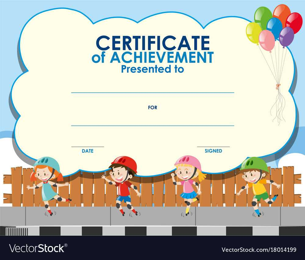 Certificate Template With Kids Skating Regarding Free Kids Certificate Templates