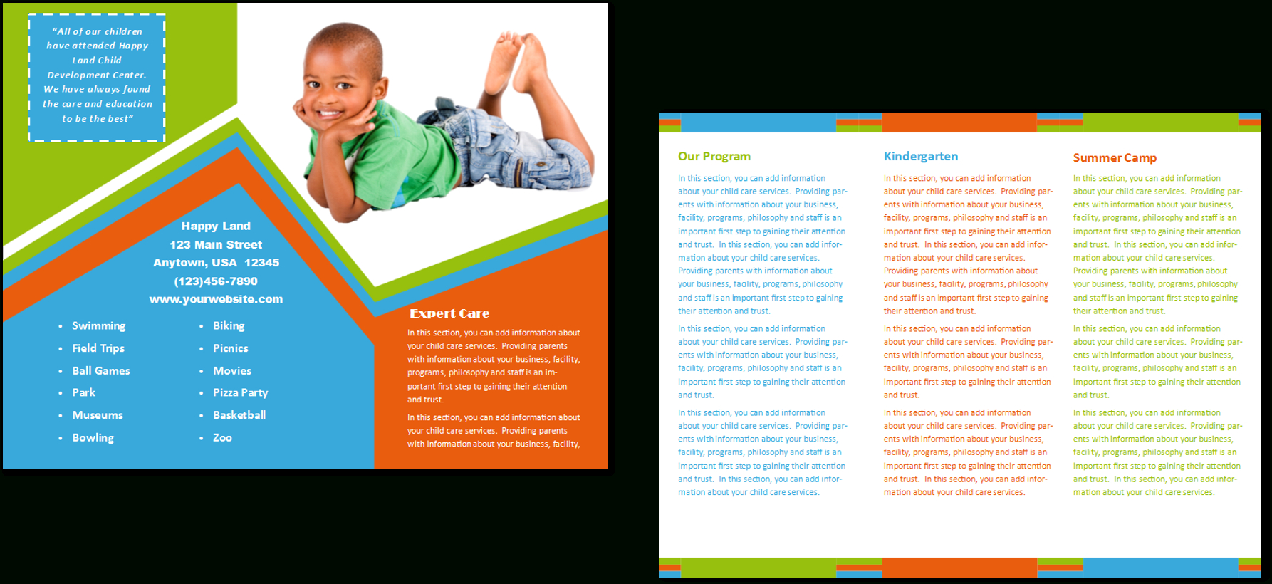 Child Care Brochure Template 26 In Daycare Brochure Template