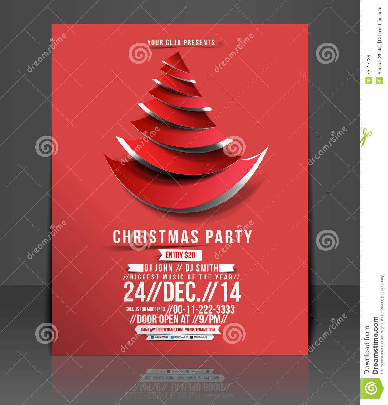 Christmas Party Flyer Stock Vector. Illustration Of Event With Regard To Free Christmas Party Flyer Templates