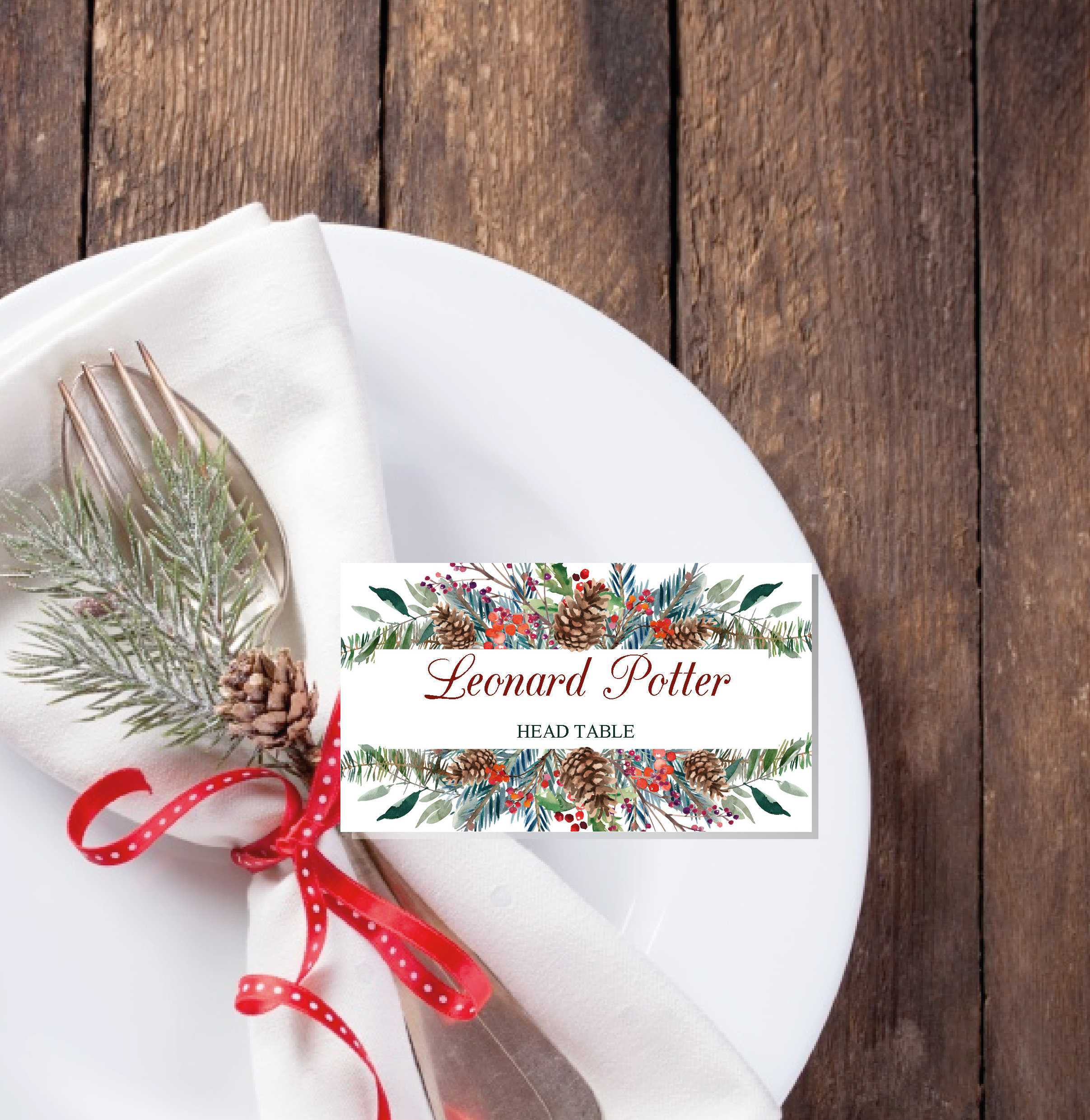 Christmas Place Cards Printable Template, Editable Names With Christmas Table Place Cards Template
