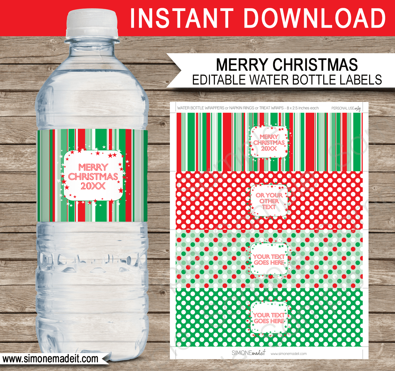 Christmas Water Bottle Labels Template – Red & Green Within Drink Bottle Label Template