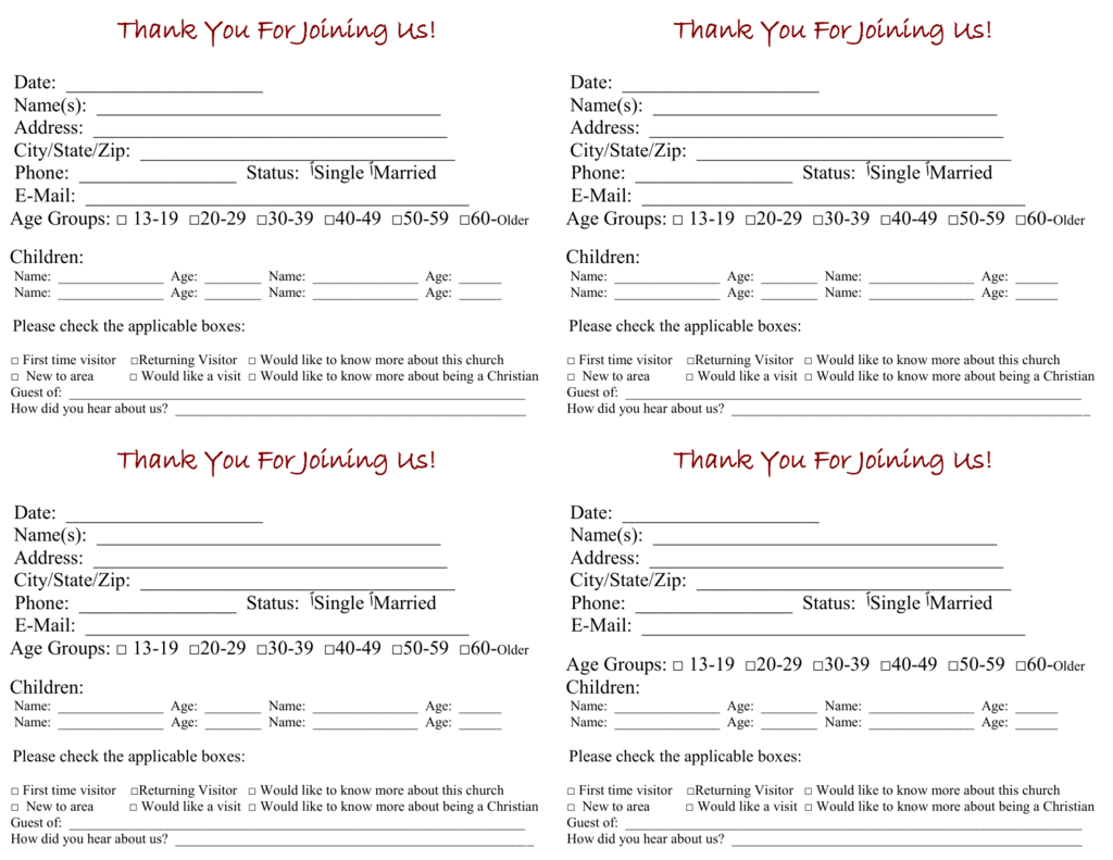 Church Visitor Card Template For Church Visitor Card Template