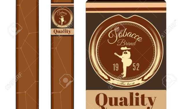 Cigar, Label Template Set Vector Flat Illustration in Cigar Label Template