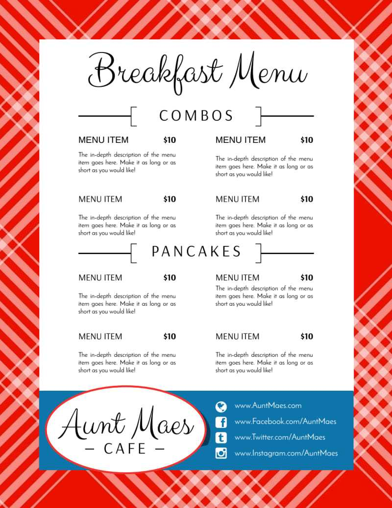 Classic Breakfast Diner Menu Template Intended For Diner Menu Template