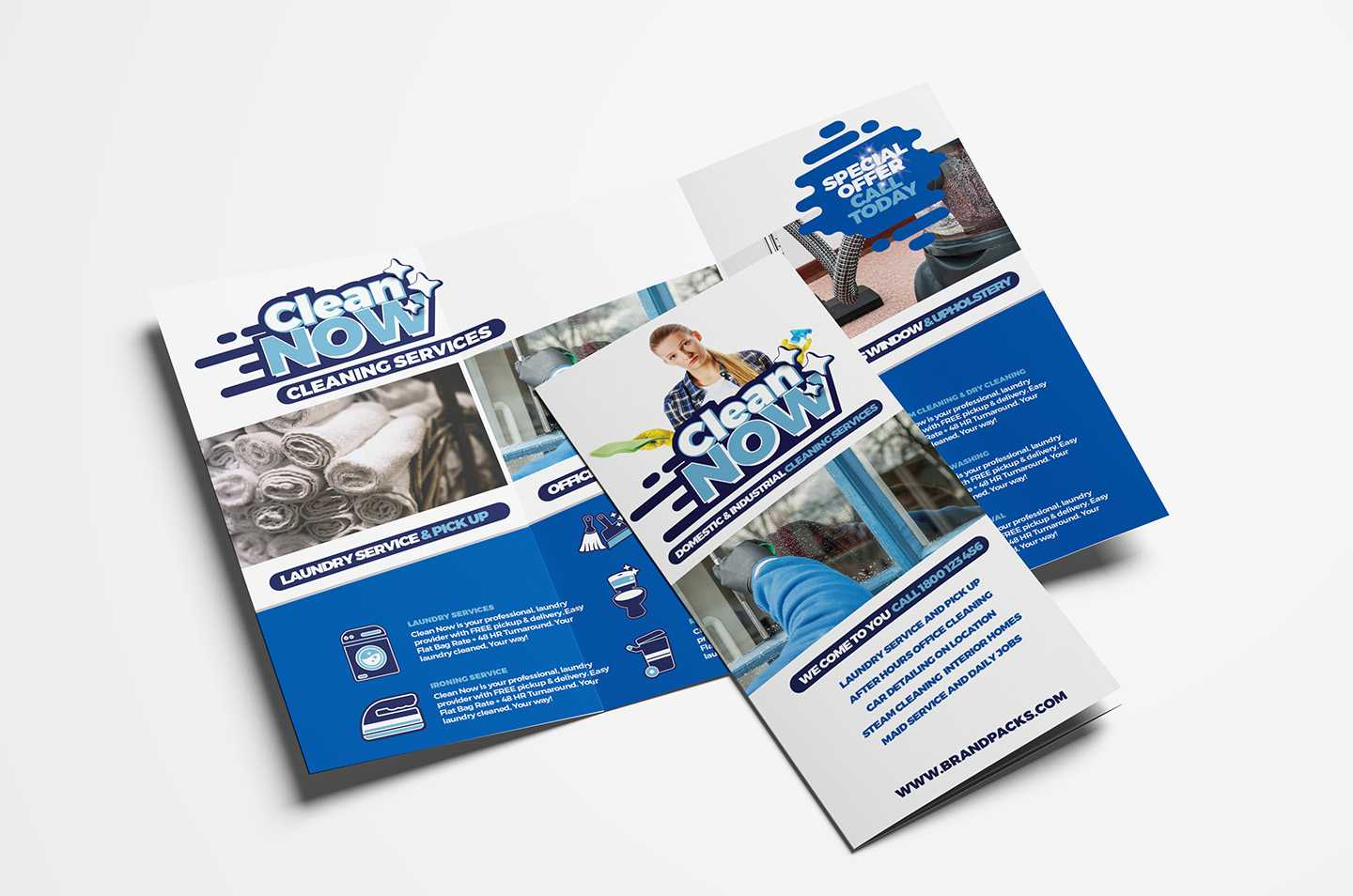Cleaning Service Trifold Brochure Template In Psd, Ai For Commercial Cleaning Brochure Templates