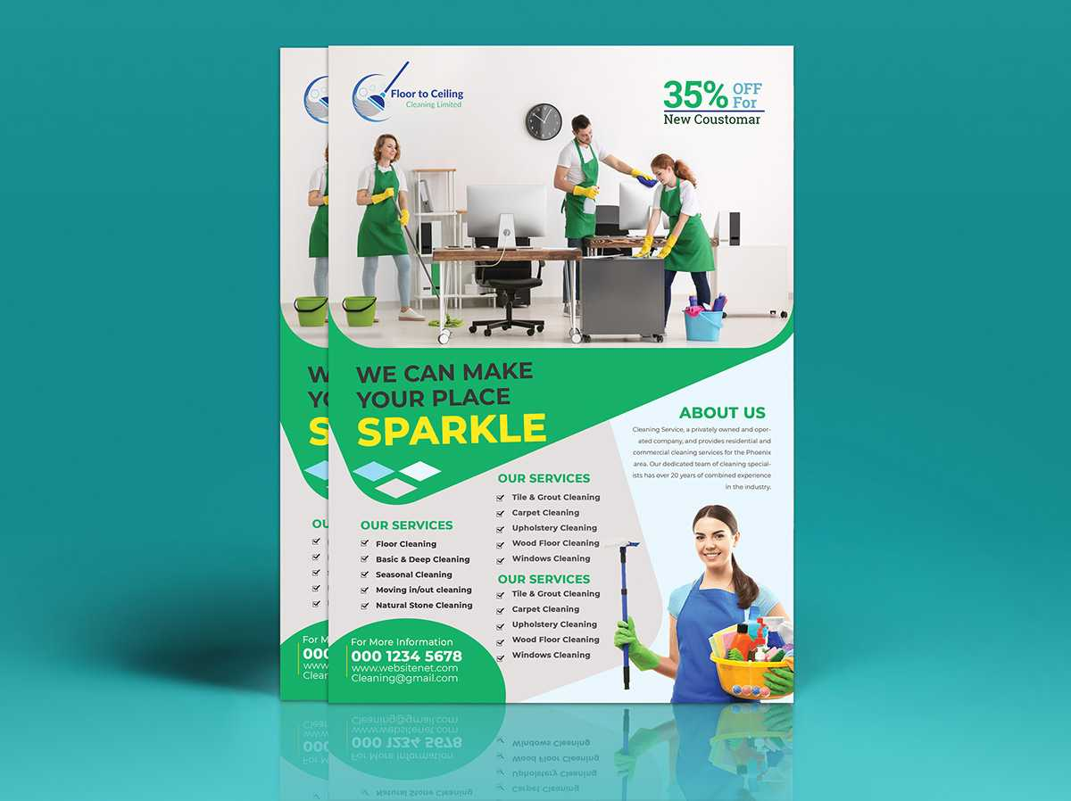 Cleaning Services Flyer Template On Student Show With Commercial Cleaning Brochure Templates