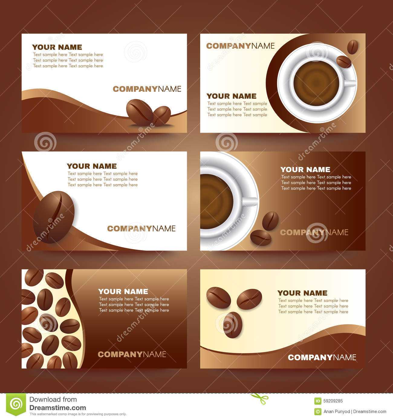 Coffee Business Card Template Vector Set Design Stock Vector With Coffee Business Card Template Free