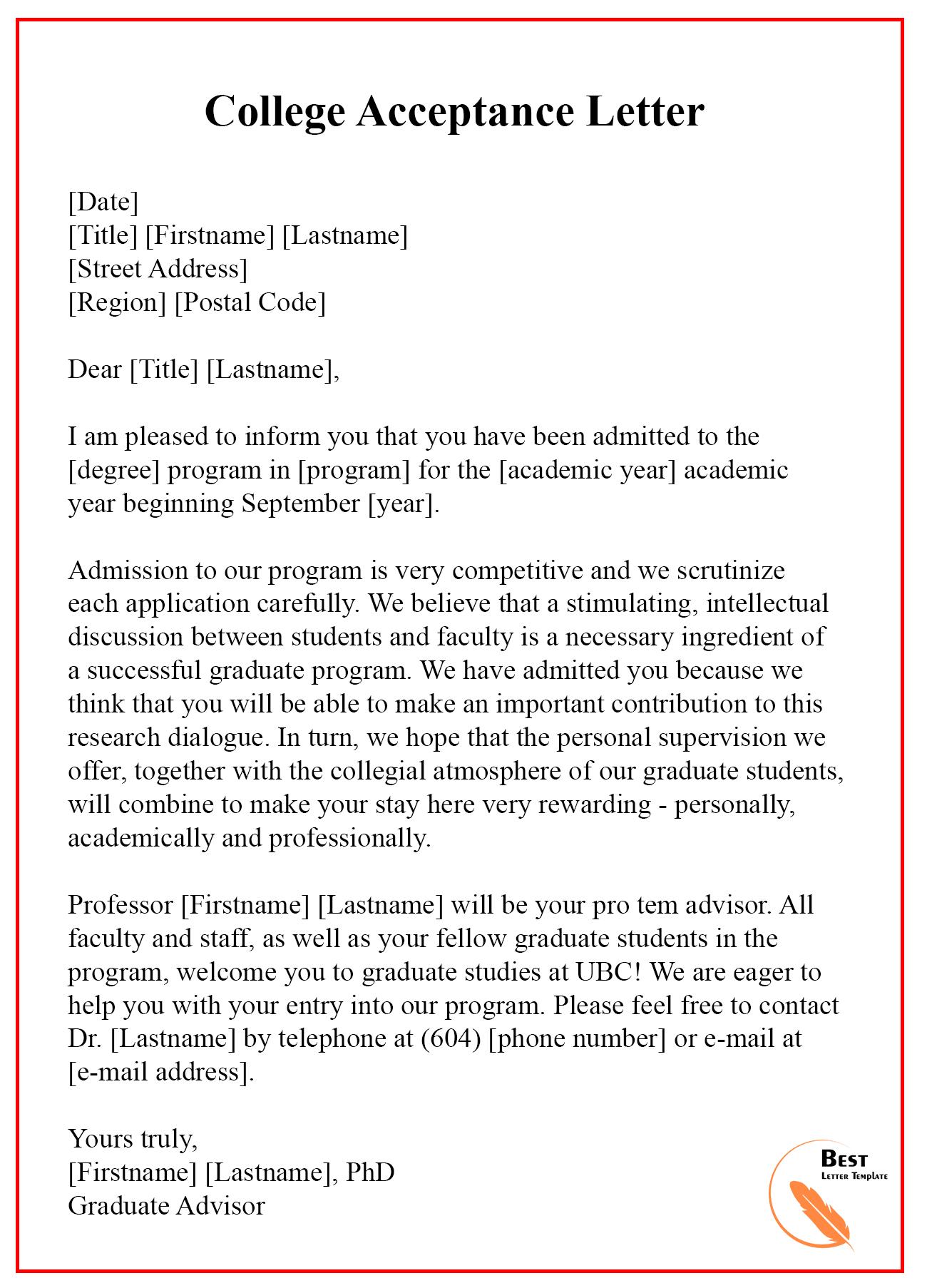 College Acceptance Letter 1   Best Letter Template Pertaining To College Acceptance Letter Template