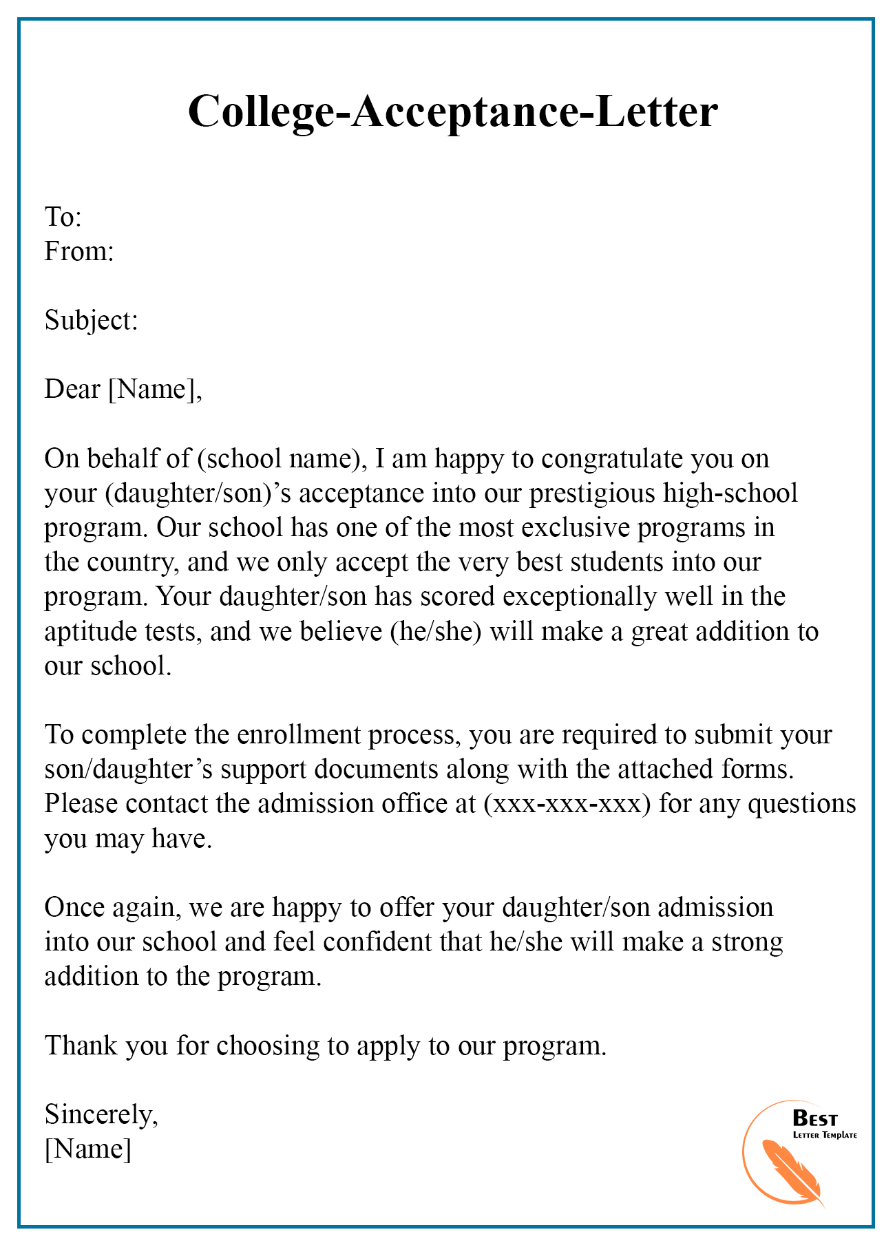 College Acceptance Letter Template – Format, Sample & Examples For College Acceptance Letter Template