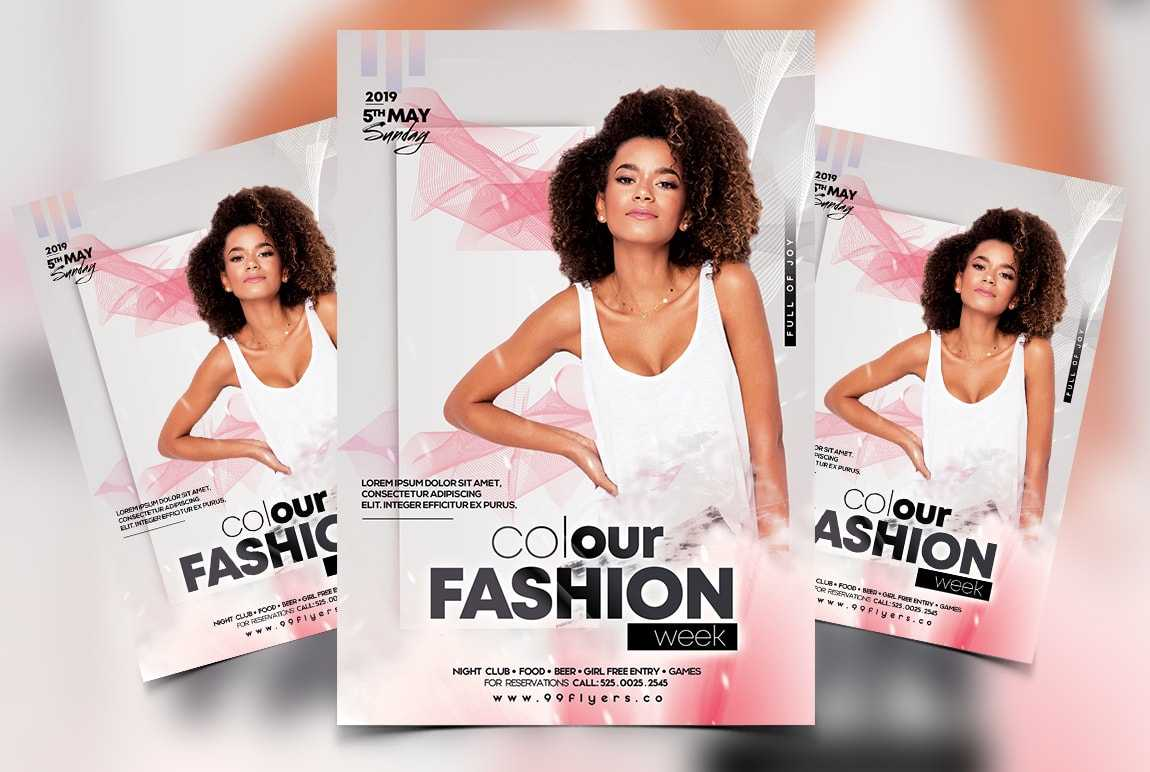 Colour Fashion Week Free Psd Flyer Template – Psdflyer.co Inside Fashion Flyers Templates For Free