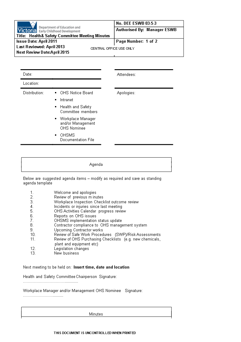 Committee Meeting Minutes Format | Templates At With Committee Meeting Minutes Template