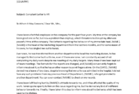 Complaint Letter To Hr | Templates At Allbusinesstemplates in Formal Letter Of Complaint To Employer Template