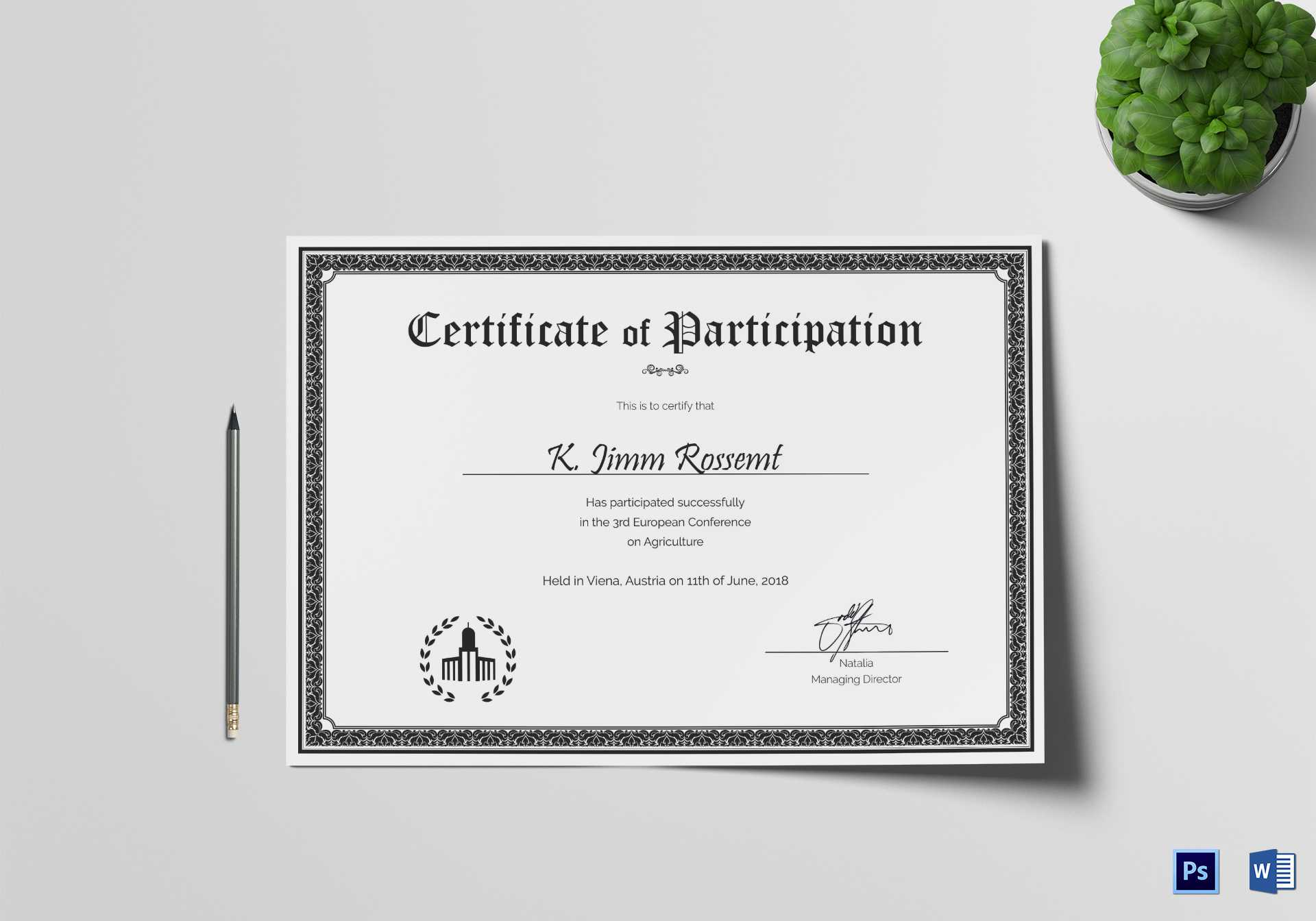 Conference Participation Certificate Template Inside Conference Participation Certificate Template
