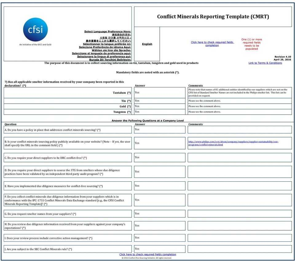 Conflict Minerals Reporting Template (Cmrt) - Pdf Free Download Inside Conflict Minerals Reporting Template