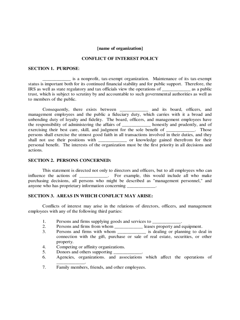 Conflict Of Interest Policy Template - 2 Free Templates In Within Conflict Of Interest Policy Template