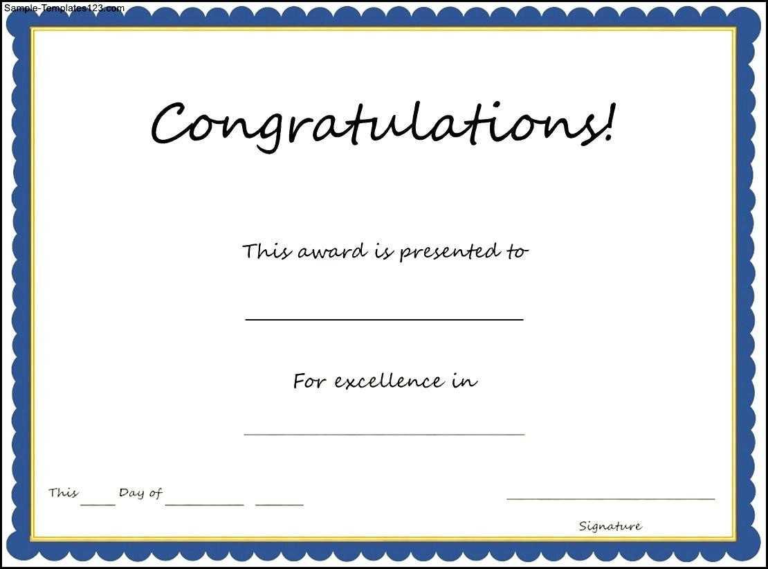 Congratulations Certificate Template For Congratulations Certificate Word Template
