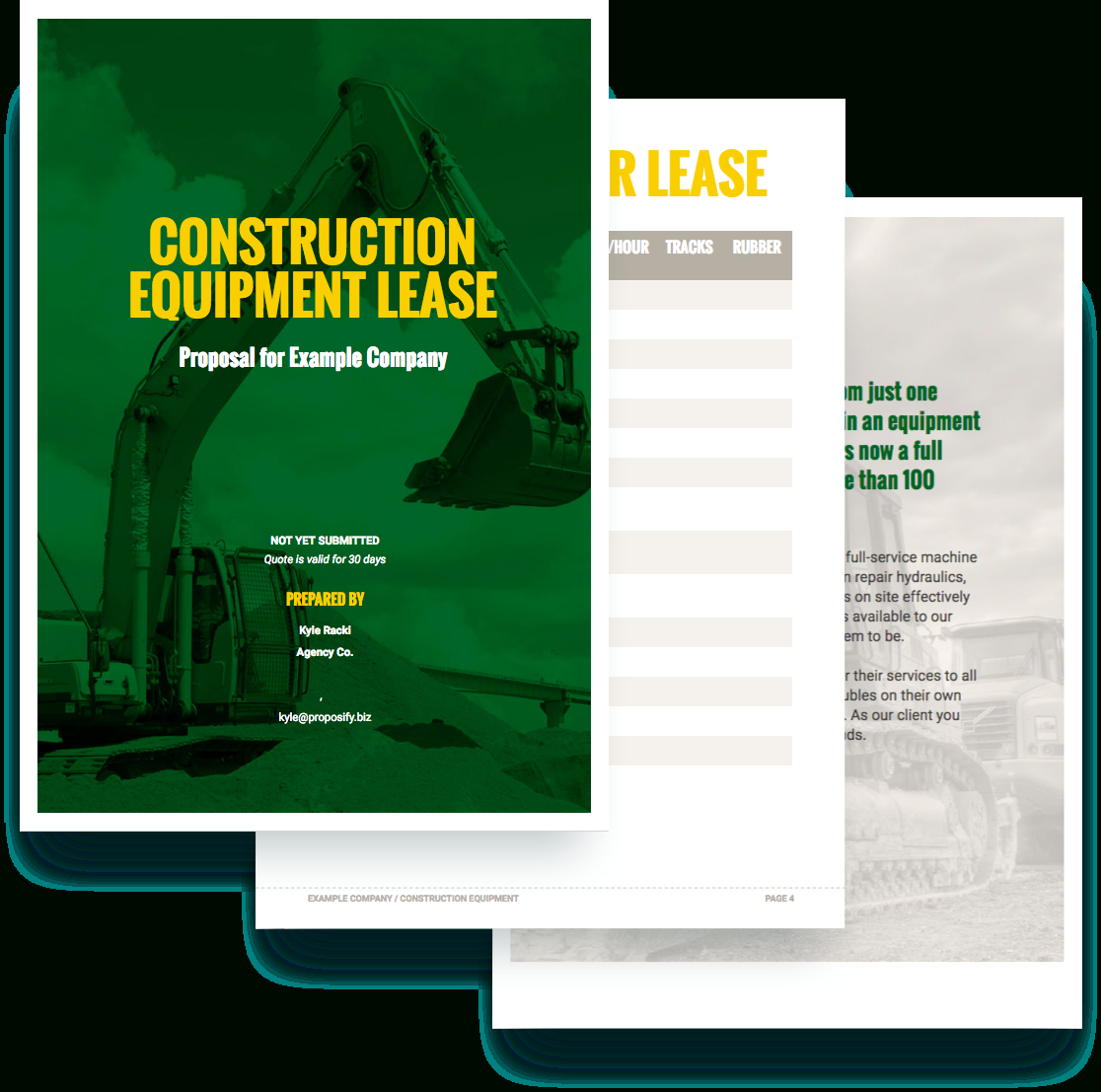 Construction Equipment Proposal Template - Free Sample In Equipment Proposal Template