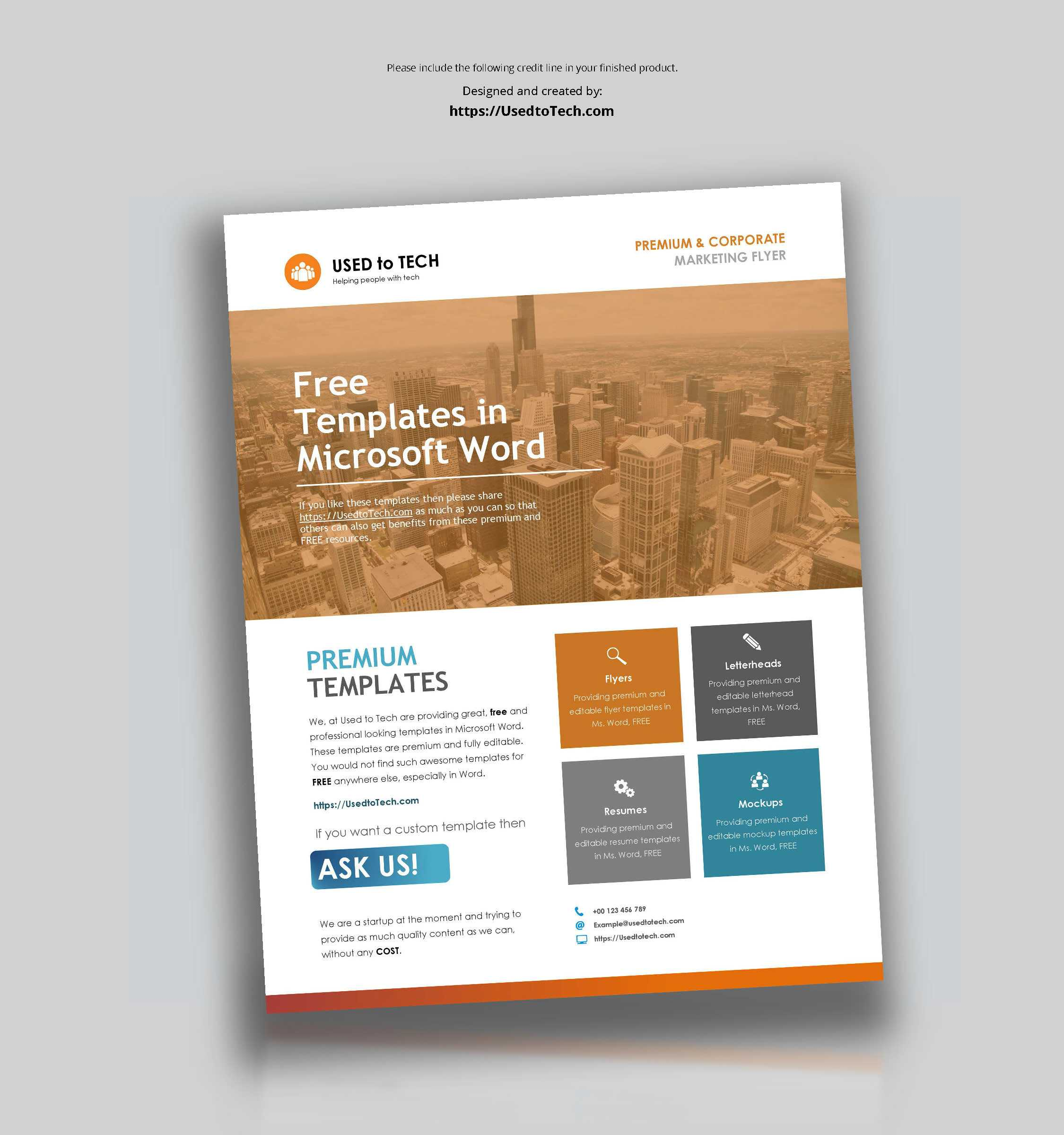 Corporate Flyer Design In Microsoft Word Free - Used To Tech Within Flyer Template For Microsoft Word