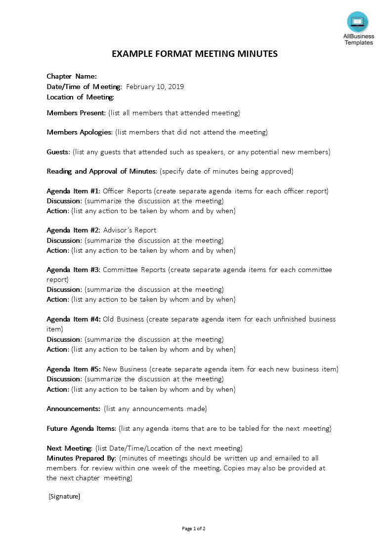 Corporate Meeting Minutes Template | Templates At Regarding Corporate Meeting Minutes Template